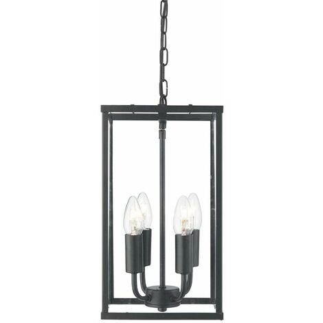 Linterna rectangular de 4 llamas negro / vidrio transparente acero dulce pintado / vidrio transparente
