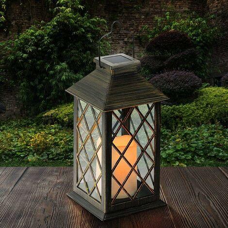 Linterna solar LangRay, lámpara solar LED para exteriores, con vela LED con efecto de llama de fuego, recargable portátil inalámbrico para jardín, terraza, patio al aire libre [clase energética A +]