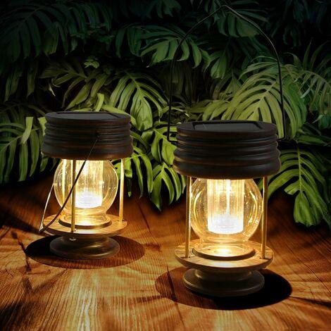 Linterna solar para jardín al aire libre, decorativa, impermeable, IP44, juego de 2 linternas solares colgantes vintage, luces LED, lámpara de mesa para árbol, patio, césped, pasillo, pasillo (luz cálida)