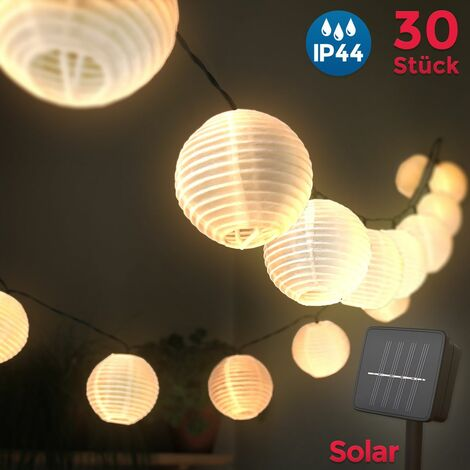 Linternas de Papel 6 Metros 30 LEDs I Solar Cadena ideal para decorar de jardín, árbol de navidad fiesta I Impermeable IP44