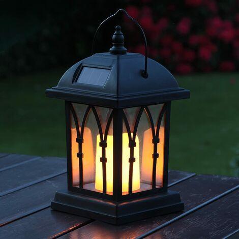 Linternas solares decorativas para exteriores de color negro mate con iluminación LED Efecto de parpadeo de velas a prueba de agua (27 cm de altura) [Clase energética A +++]