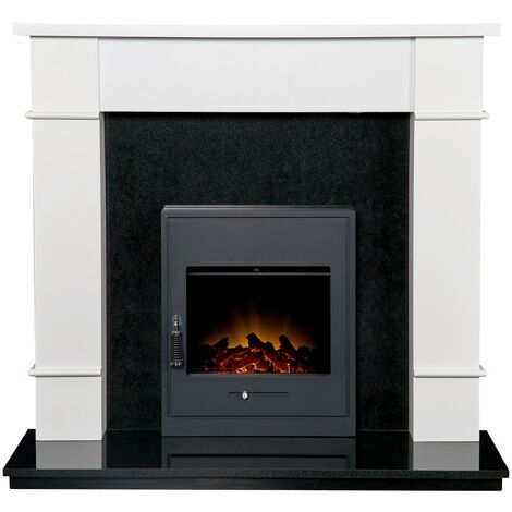 Linton Surround with Downlights in Pure White & Granite with Oslo Electric Fire, 48 Inch