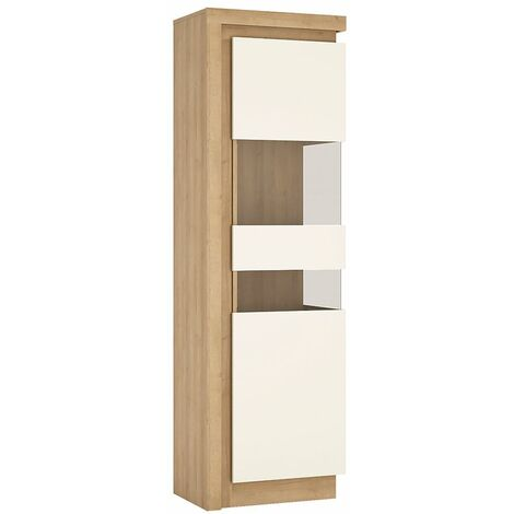 Lion White Tall narrow display cabinet (RHD) (including LED lighting)