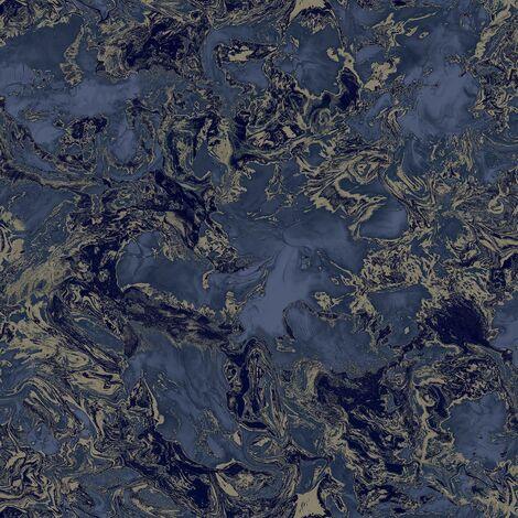 Liquid Marble Effect Wallpaper Debona Metallic Glitter Navy Gold