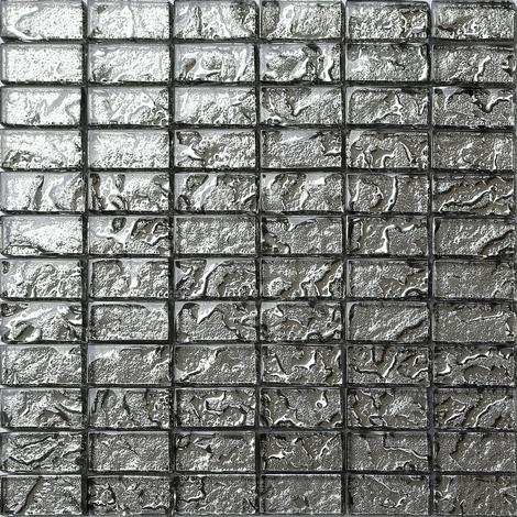 Liquid Silver Brick Bathroom Kitchen Feature Mosaic Tiles Sheet MT0121