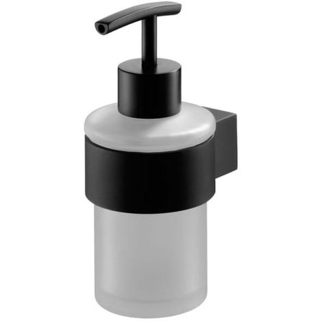Liquid Soap Tempered Glass Dispenser Bathroom Black Powder Coated Zamak
