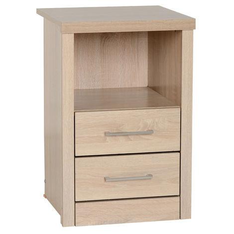 Lisbon 2 Drawer 1 Shelf Bedside Cabinet - Light Oak Effect Veneer