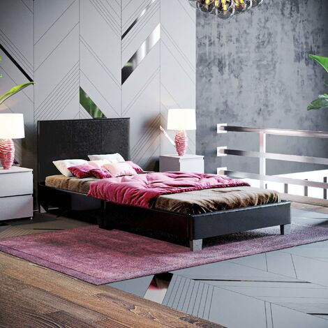 Lisbon Single Faux Leather Bed, Black
