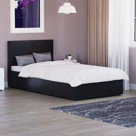 Lisbon Single Ottoman Faux Leather Bed, Black