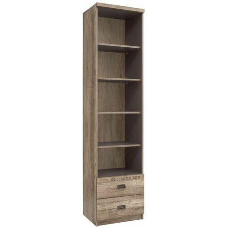 LISETTO - Bibliothèque salon et chambre ado - Style moderne - 205,5 x 50 x 40 cm - Tiroirs + étagères - Coulisses à billes - Chêne