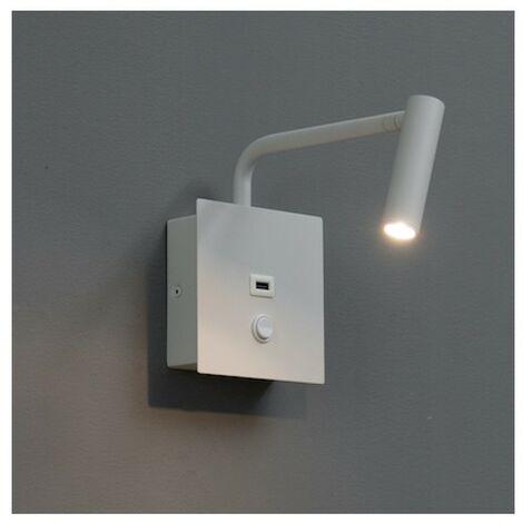 Liseuse pratique et moderne LED et port USB intégré - Miami blanc - Blanc