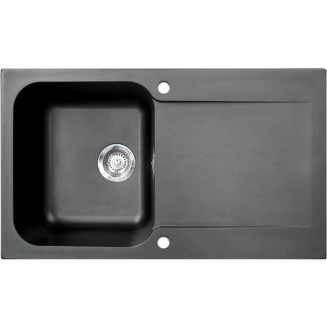 Lisse évier réversible 1 cuve 1 égouttoir en résine noir - Noir