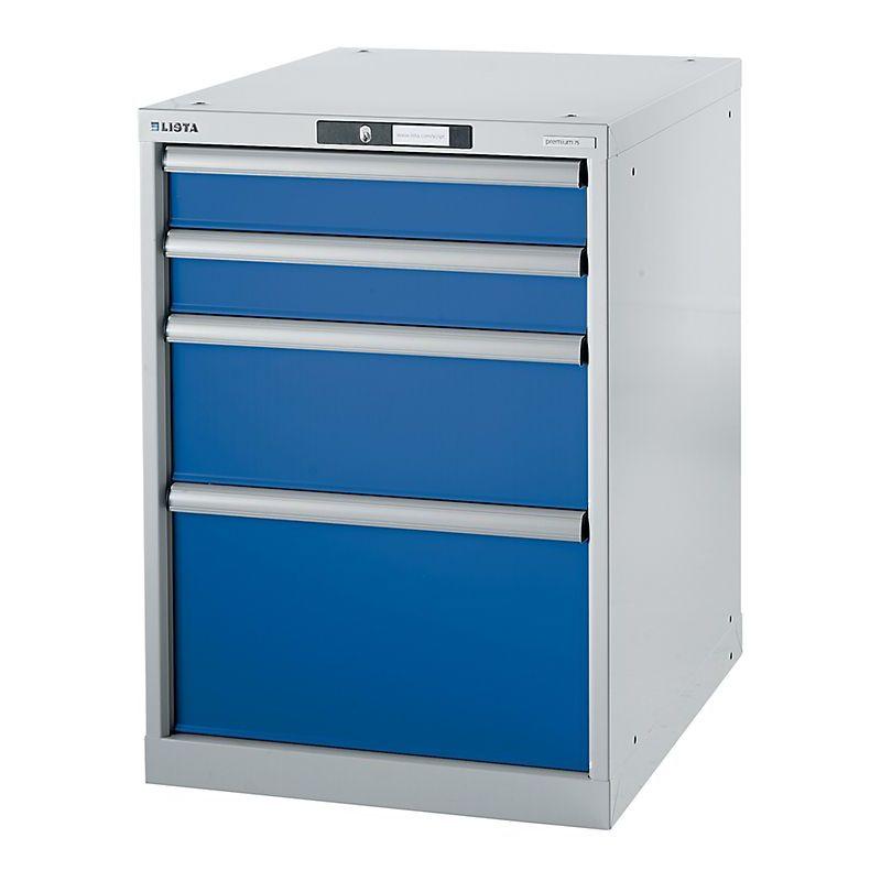 Certeo - Lista Etabli modulaire, caisson suspendu - hauteur 800 mm, 4 tiroirs - bleu gentiane - Coloris tiroirs: Bleu gentiane RAL 5010