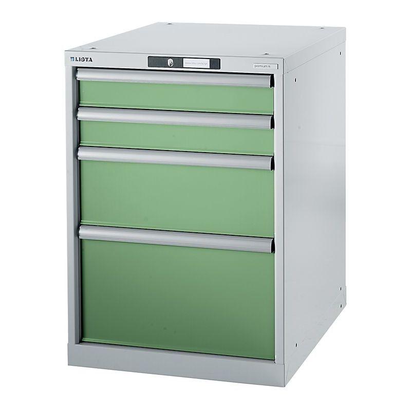 Certeo - Lista Etabli modulaire, caisson suspendu - hauteur 800 mm, 4 tiroirs - vert réséda - Coloris tiroirs: vert réséda RAL 6011