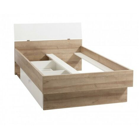 Lit 120x200 avec tiroir décor chêne clair et blanc - GABRIEL - Bois