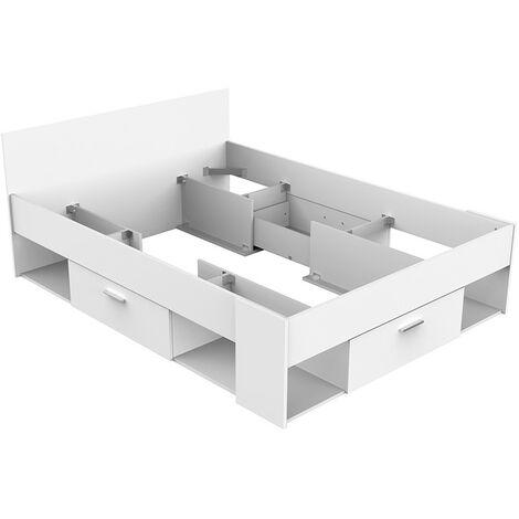 Lit 140 x 190/200 cm SEATTLE blanc perle - Environnement de lit non fourni - Blanc