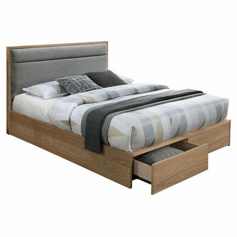 Lit 140x190 bois naturel et tissu avec tiroirs - Montana - beige