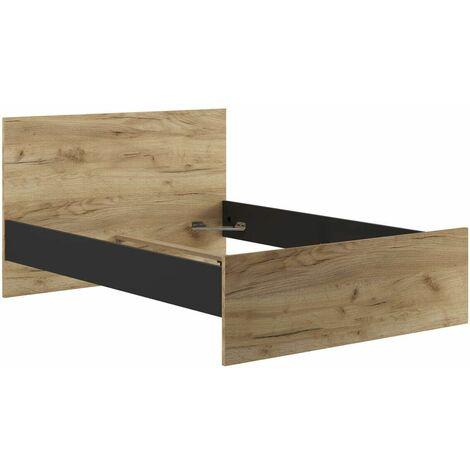 Lit 140x190 cm MIAMI chêne rustique et noir