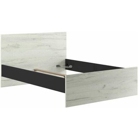 Lit 140x190 cm MIAMI noir et blanc