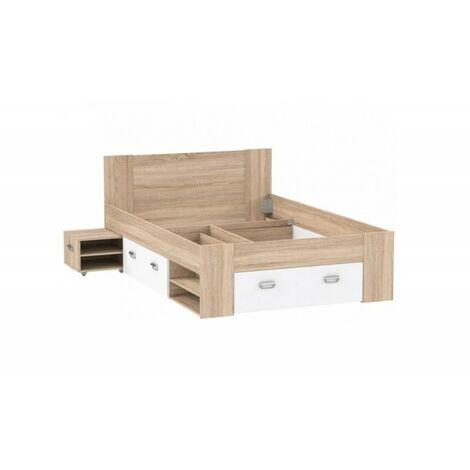 Lit 140x200 avec rangements décor bois clair et blanc - MILO - Beige