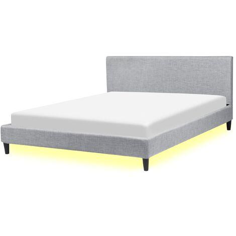 Lit 160x200 cm avec LED blanc en tissu gris clair FITOU