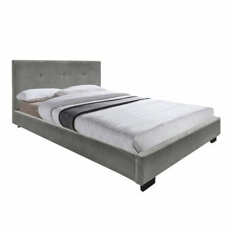 Lit 160x200 tissu gris capitonné - Bellagio - gris
