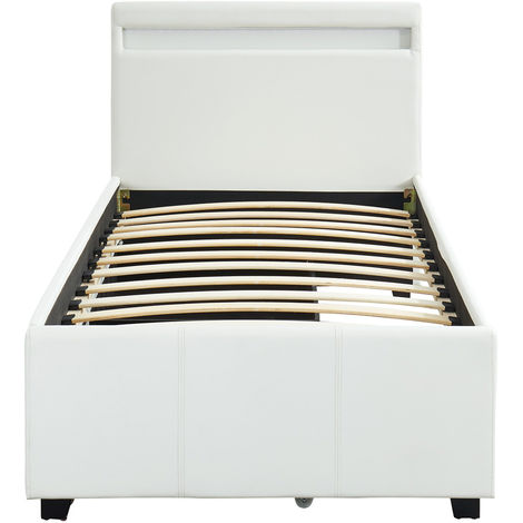 Lit 90 Avec Rangement.Lit 90 X 190 Cm Coloris Blanc Avec 2 Tiroirs De Rangement Et Led Pegane
