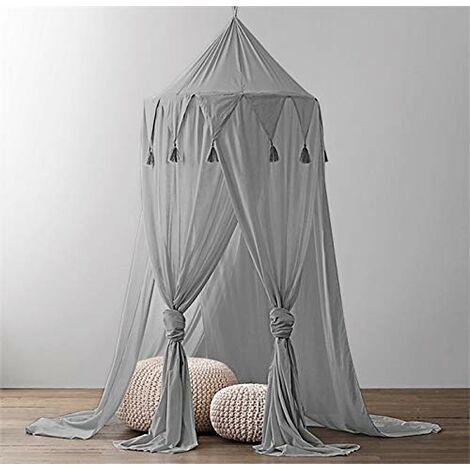 Lit à baldaquin bébé à baldaquin enfants lit bébé en mousseline de soie moustiquaire décorative pour bébé dressing room intérieur extérieur jouer lecture chambre (gris)