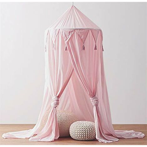 Lit à baldaquin pour bébé à baldaquin pour enfants Lit de bébé en mousseline de soie Moustiquaire décorative pour bébé Dressing Intérieur extérieur Jouer Chambre de lecture (Rose)