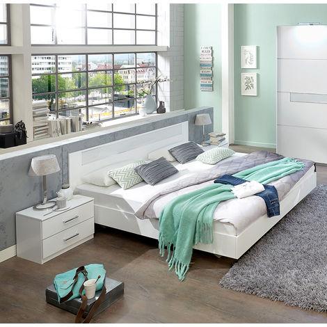 Lit adulte avec 2 chevets coloris blanc, rechampis verre blanc + chrome - Dim: 160 x 200 cm - PEGANE -