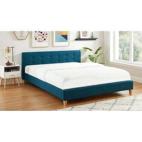 Lit adulte avec tête de lit capitonnée en tissu bleu canard - sommier à lattes 160x200cm - Collection Milo - Bleu