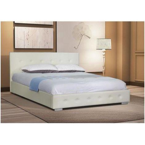 Lit adulte design blanc capitonné IGOR 160x200 cm avec sommier. Meuble en  simili cuir, idéal pour votre chambre à coucher