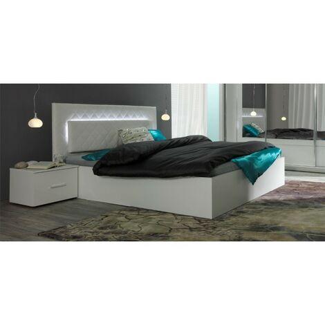 Lit adulte design PANAREA + Chevets + Matelas 160x200 + Sommier. Coloris blanc. - Blanc