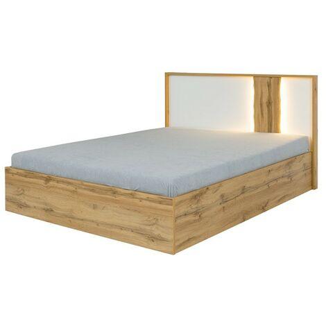 Lit adulte design WOOD 160 x 200 cm + LED dans la tête de lit. Meuble design idéal pour votre chambre. - Marron