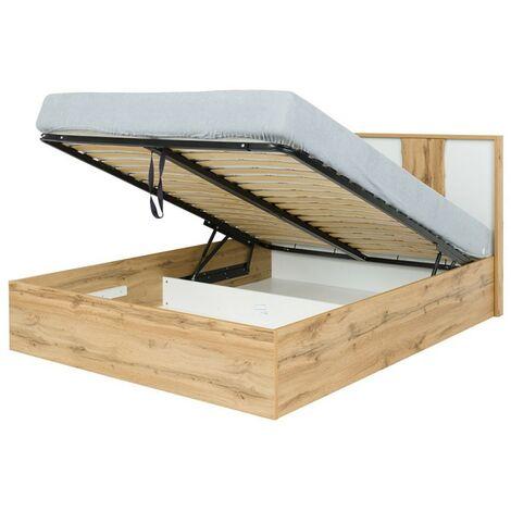 Lit adulte design WOOD 180 x 200 cm + option coffre + LED dans la tête de lit. Meuble design, idéal pour votre chambre. - Marron