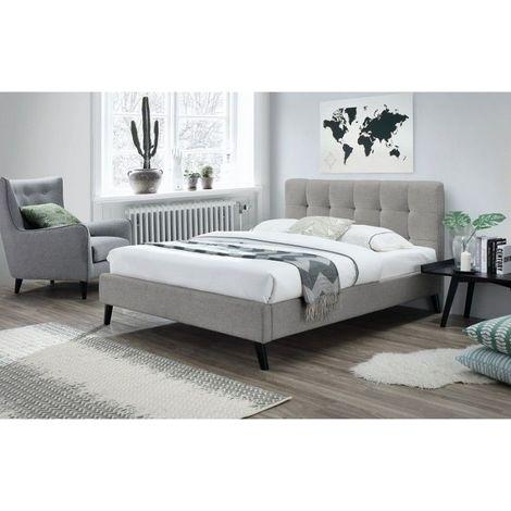 Lit adulte deux places design FLEUR + sommier 180x200 cm. Type scandinave, idéal pour votre chambre à coucher - Gris
