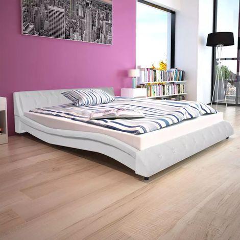 Lit avec matelas 160x200 cm Cuir artificiel blanc | Blanc