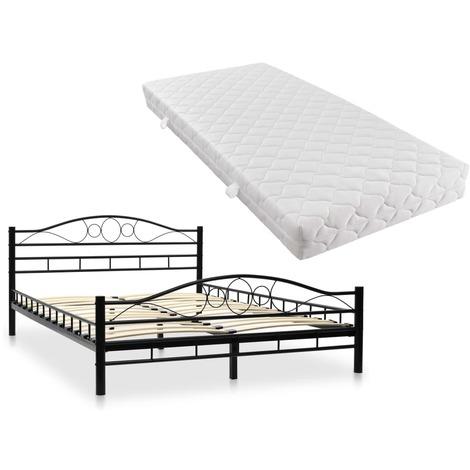 Lit avec matelas Métal 140 x 200 cm Noir Design ondulé - Lits et accessoires - Lits et cadres de lit | Noir | Noir