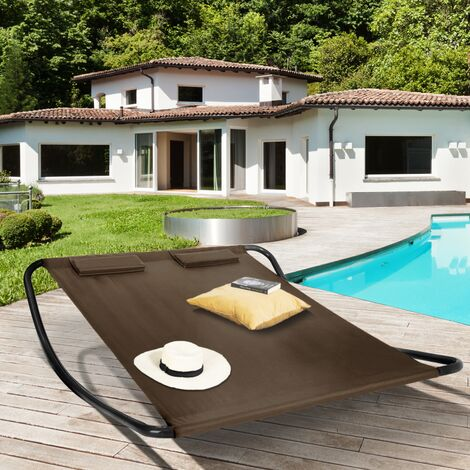 Lit bain de soleil 180 CM toile chocolat structure gris foncé