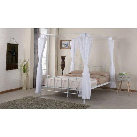 Lit baldaquin, deux places, 140 x 200 cm en métal coloris blanc et voilage blanc inclus. - Blanc