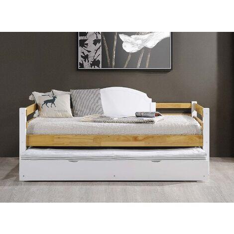 Lit banquette gigogne en bois et blanc ARMAND 90 x 190 cm