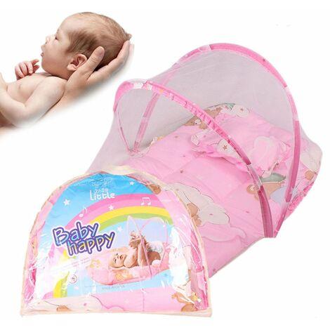 Lit Bébé Lit de voyage pliable portable Berceau Lit pour 0–2 ans bébé Canopy Moustiquaire Tente avec taie d'oreiller
