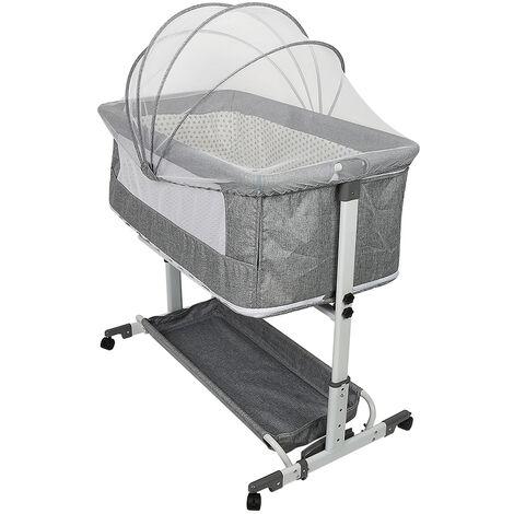 Lit bébé pliant 2 en 1 – berceau, lit pliant et parc bébé – gris