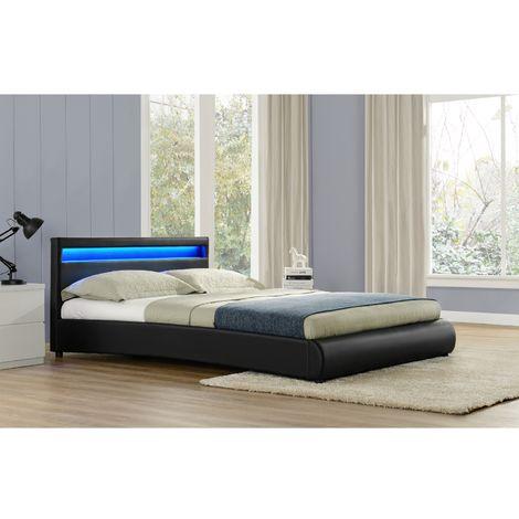 Lit Birmingham - Cadre de lit en simili Noir avec LED intégrées - 160x200cm