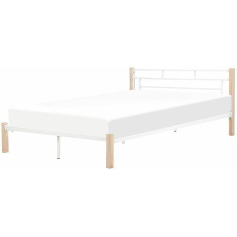 Lit blanc moderne avec pieds en bois 180 x 200 cm