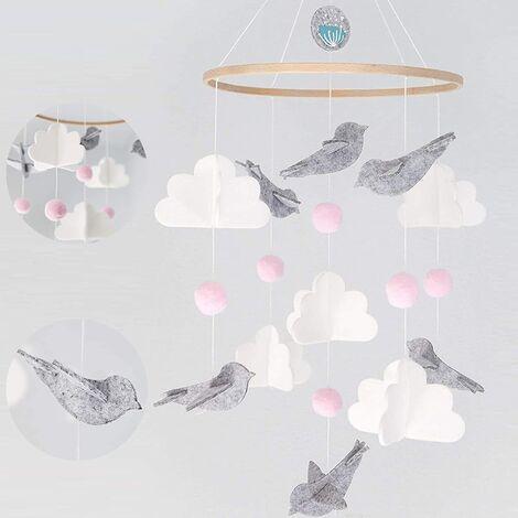 Lit Boules de Feutre,bébé carillons éoliens,Mobile musical pour lit de bébé (rose)