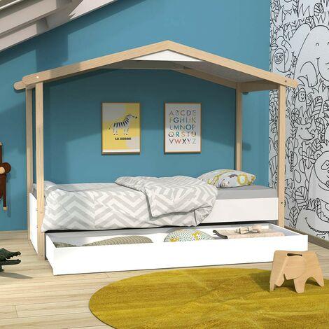Lit cabane CASTEL 90x190 + 1sommier + tiroir / Blanc et naturel/