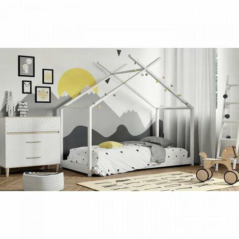 Lit cabane enfant - Bois pin massif - Blanc - Sommier inclus - 90 x 190 cm - ELIAH