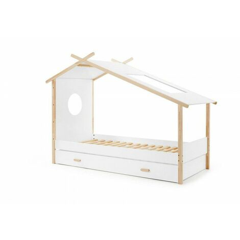 Lit cabane enfant contemporain en pin massif laqué blanc Junior - Blanc