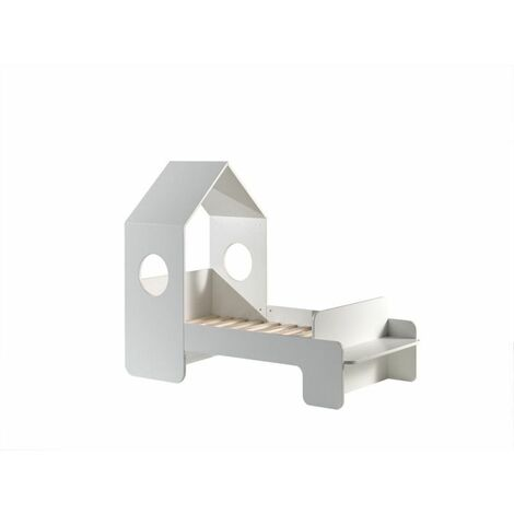 Lit cabane enfant moderne blanc laqué Lolita 70 x 140 cm - Blanc
